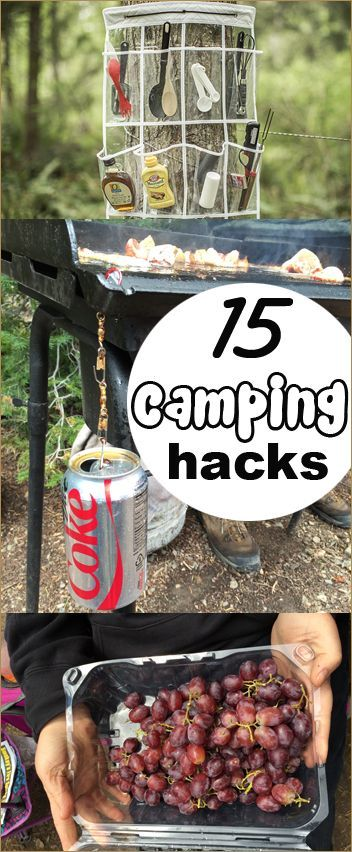 15 Camping Hacks.  Tips and tricks to planning, organizing and packing for camping.  Save time with these camping ideas.  You'll definitely want to try the grape trick!