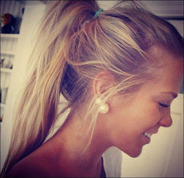 Messy Ponytail Hairstyle Love The Earrings