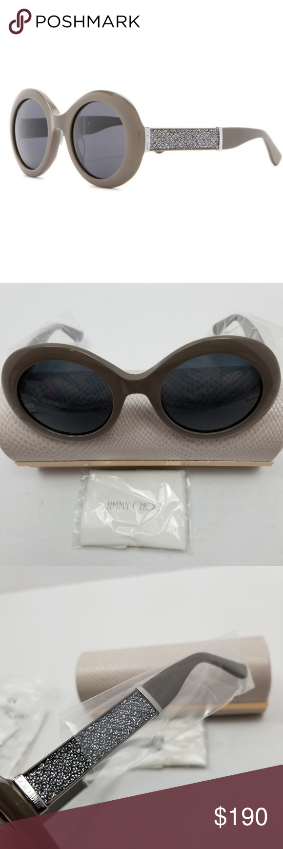 23acbc39850 NWT Jimmy Choo Wendy Round Glitter Sunglasses Gorgeous big round glitter  sunglasses from Jimmy Choo in