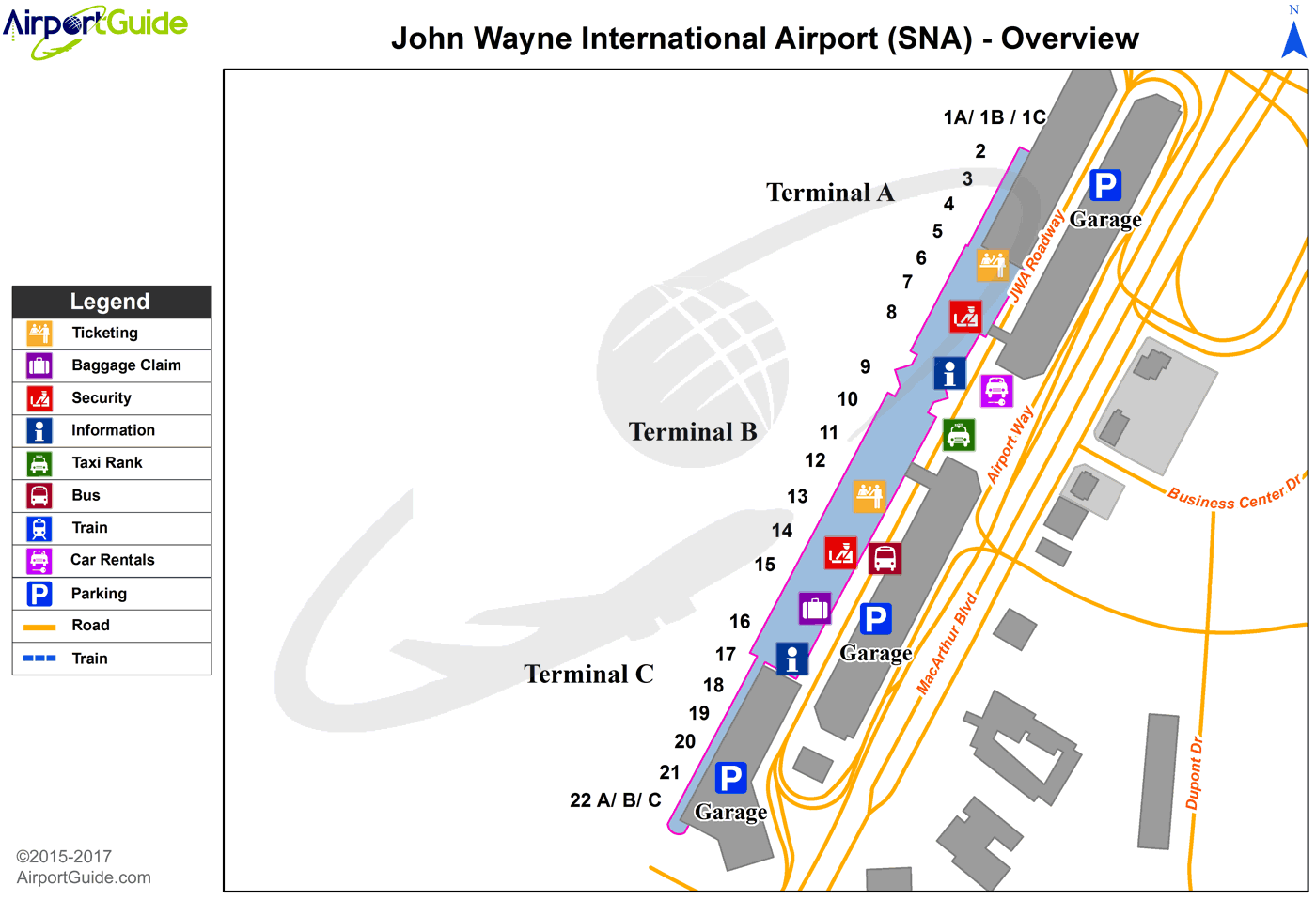 Santa Ana Airport Map Santa Ana   John Wayne Airport Orange County (SNA) Airport