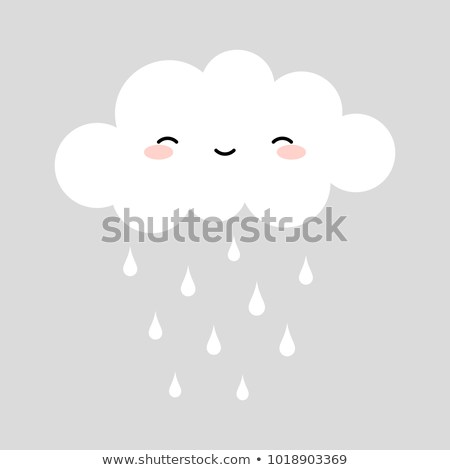 Cute Happy Cloud With Rain Drops Print Or Icon Vector Illustration Clouds Design Print Clouds