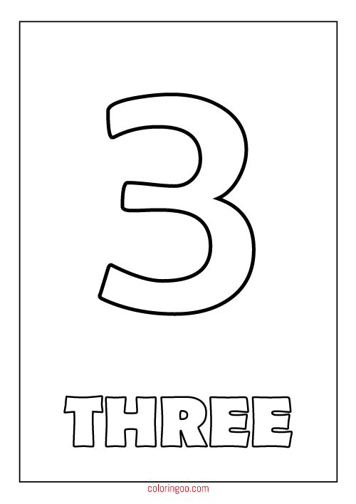 Printable Number 3 Three Coloring Page Pdf For Kids Printable Numbers Coloring Pages Numbers For Kids