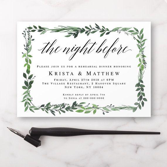 Pre Wedding Dinner Invitation: Greenery Rehearsal Dinner Invitation Template The Night
