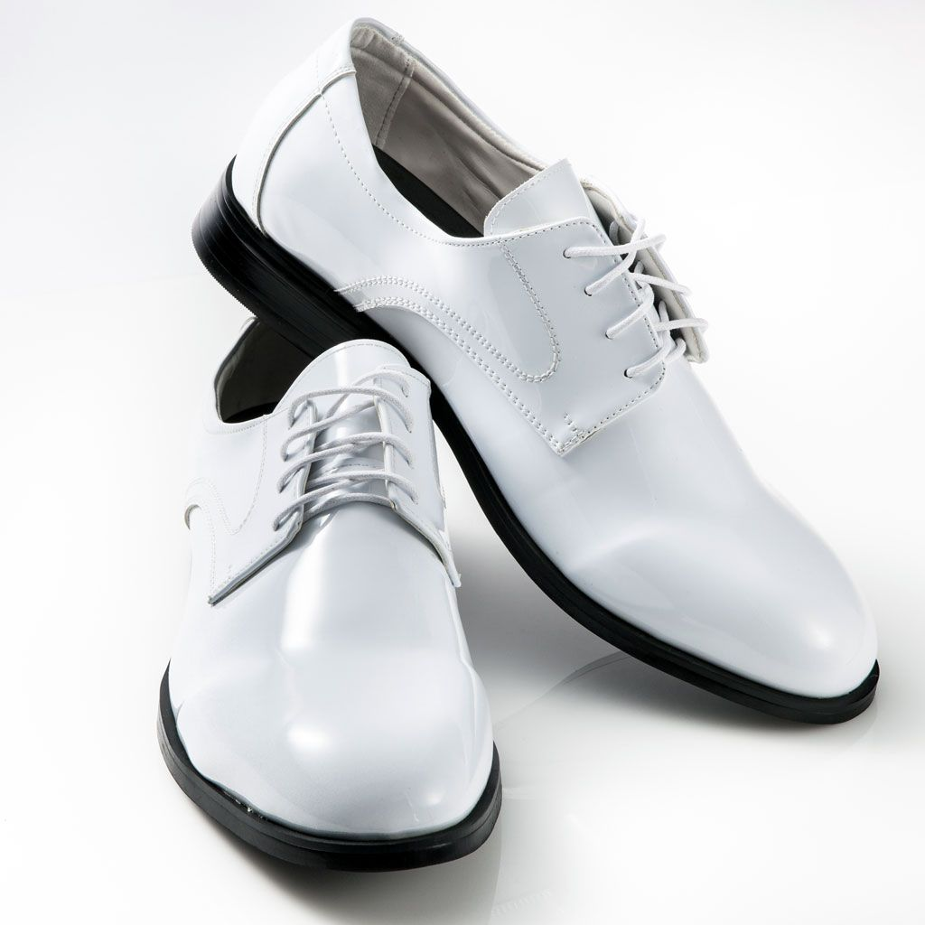 MEN/'S WHITE TUXEDO DRESS SHOES faux patent leather classic formal oxford styling