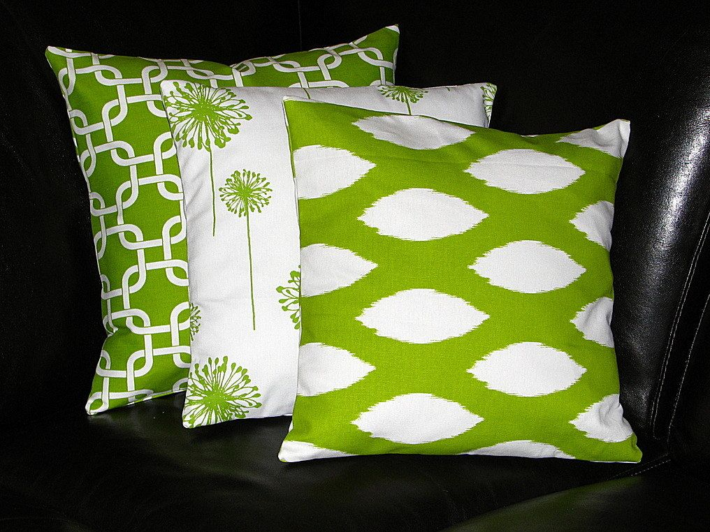 Decorative Pillow Trio : Lime Green Pillows Decorative Pillows TRIO ikat, chain link, dandelion 18 inch Throw Pillow ...