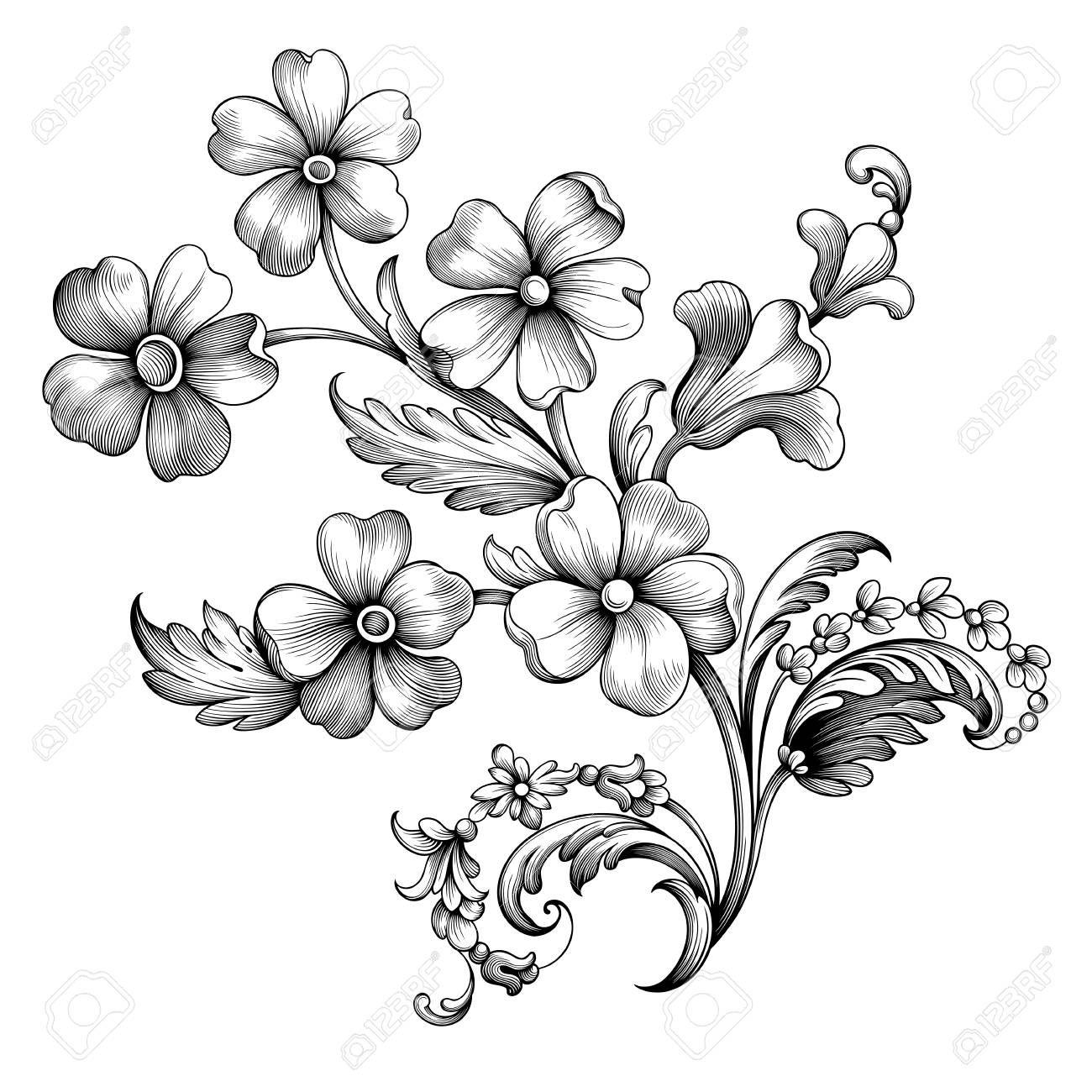Vintage Spring Flower Summer Daisy Scroll Baroque Victorian Frame Border Floral Ornament Leaf Engraved R Vintage Flower Tattoo Victorian Tattoo Vintage Flowers