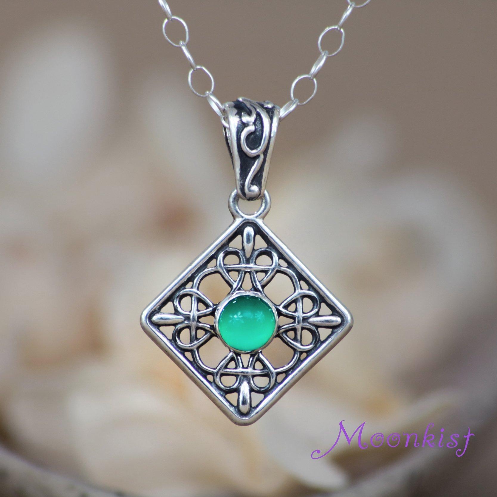 Green onyx bezel set silver filigree bridal celtic pendant necklace