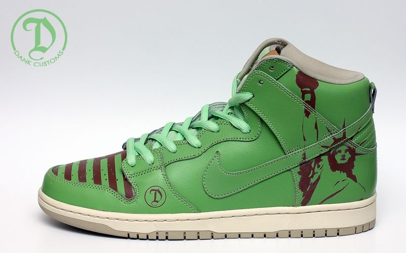 premium selection 13cfe e3c8a Nike SB Dunk High Statue of Liberty Customs by JWDanklefs
