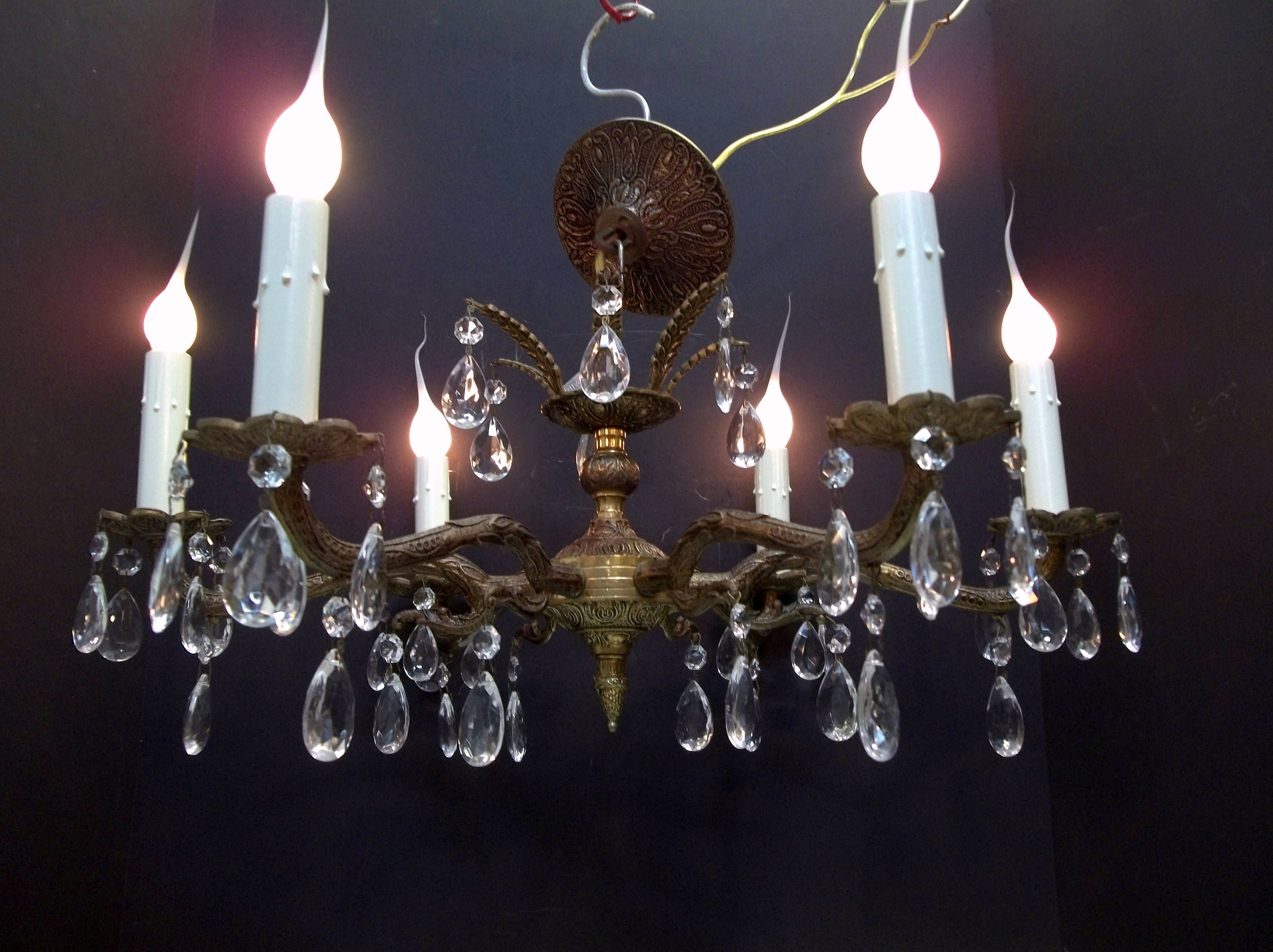 Spanish Chandelier Low Ceiling Brass Crystal Chandelier Ornate Brass Spanish