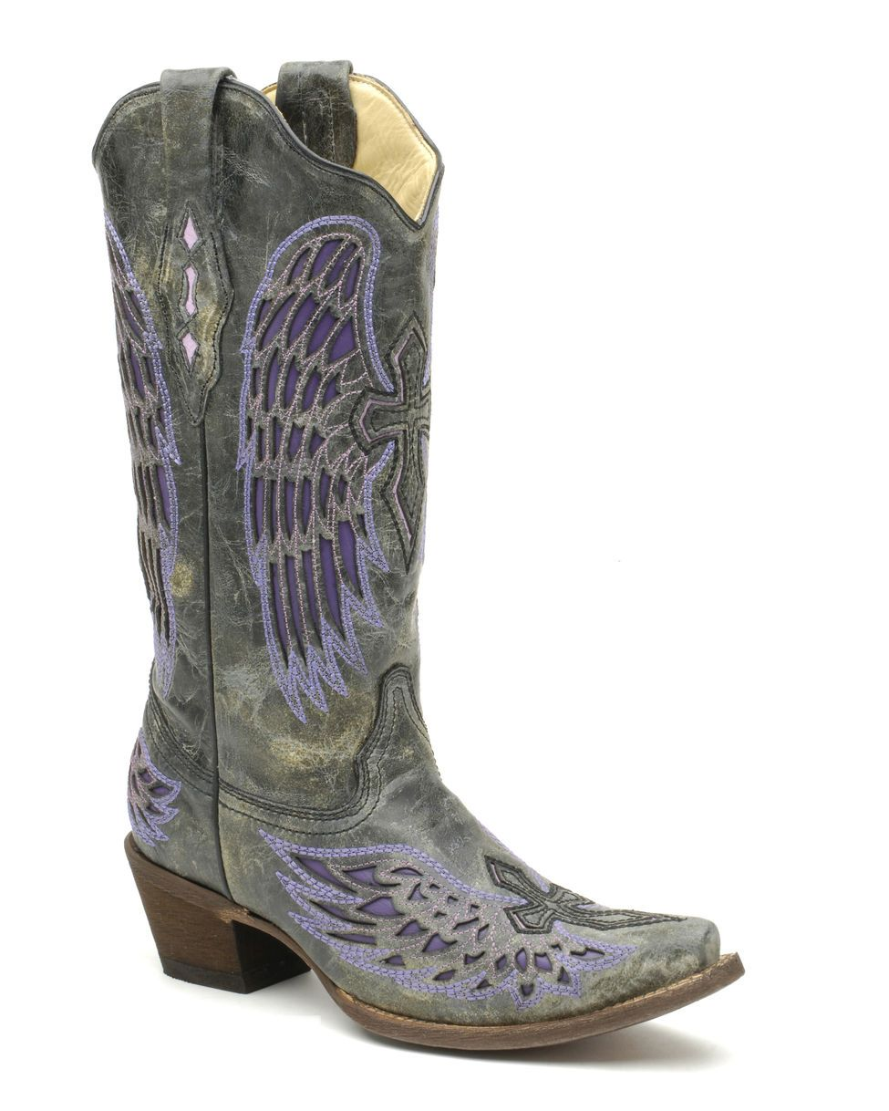 ef20fd628e47 Corral Women s Distressed Black Winged Cross Purple Inlay Boot - A1969