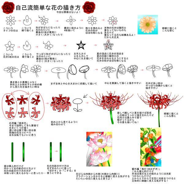 簡単な花の描き方 A 花のスケッチ 花 描き方 彼岸花 イラスト