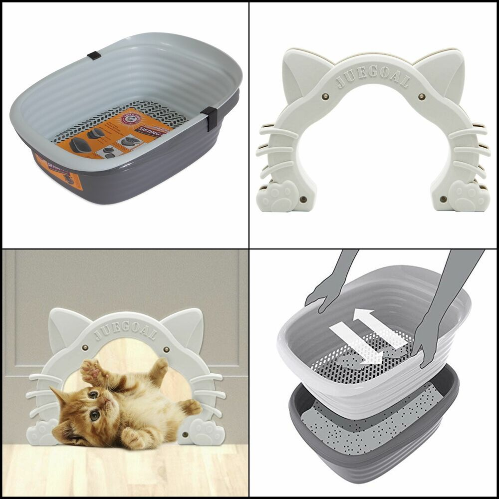 Cat Door Kitty Hole For Small Pets Hides Furniture With Large Sifting Litter Pan 724190829479 Ebay Small Pets Cat Door Self Cleaning Litter Box