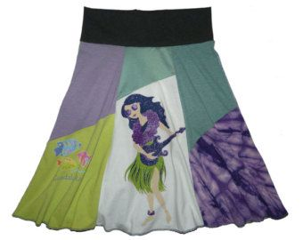 Items similar to Hippie Skirt--Flattering Must-Have upcycled women's t-shirt skirt from TWINKLE size small medium on Etsy
