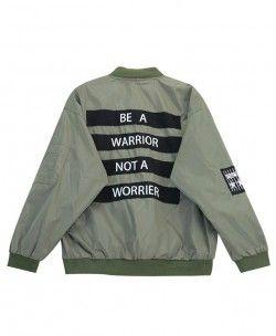 Warrior Print Loose Bomber Jacket
