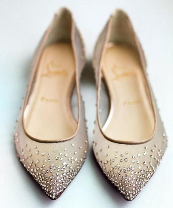 Pointy Sparkling Flat Wedding Beads Shoes