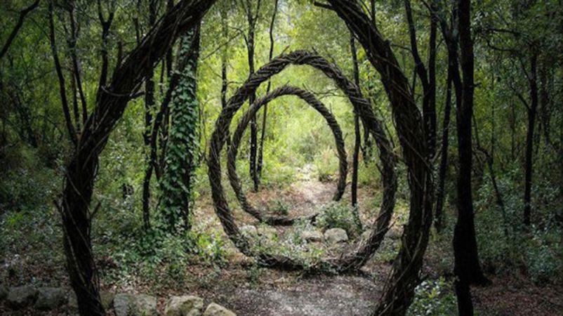Após passar um ano sozinho nos bosques de La Colle Sur Loup, na França, ele criou uma série de instalações orgânicas e psicodélicas com materiais encontrados na própria floresta.