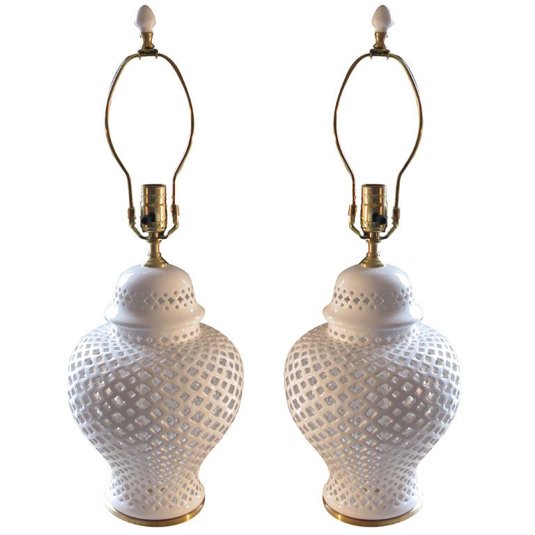 View This Item And Discover Similar Table Lamps For Sale At   White Ceramic  Filigree Ginger Jar With Brushed Brass Base And Lamp Application