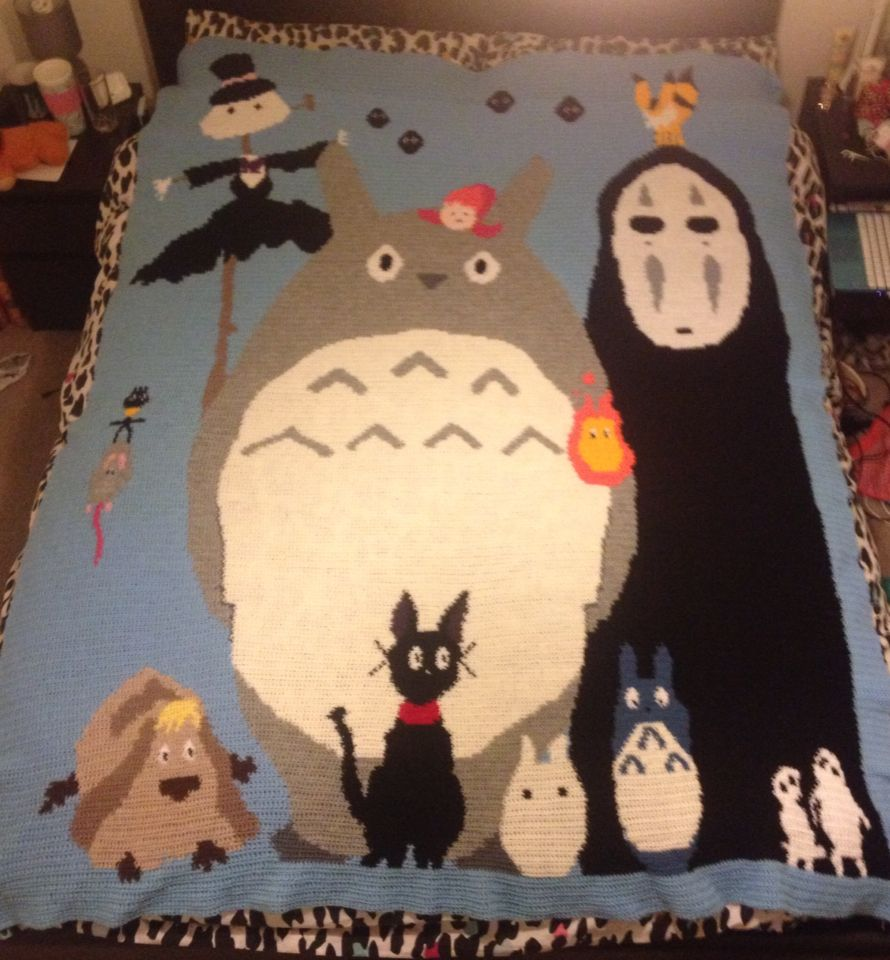 My studio ghibli crochet blanket finally finished studio my studio ghibli crochet blanket finally finished bankloansurffo Images