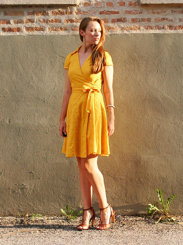 Eyelet wrap dress in goldenrod.- banana republic dress