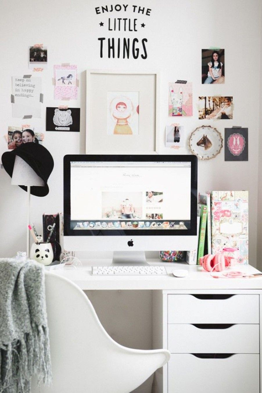 feminine office supplies. Outrageously Feminine Supplies For Office Design: Minimalist White Computer Desk Also Feat Cute Wall Decor With Photos And Quote I