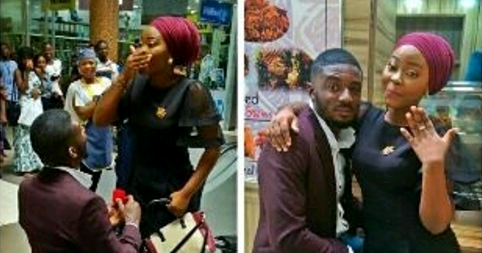 """A Nigerian man Jay took his proposal to Ikeja City Mall yesterday. It was his girlfriend Sekinat Lawal 's birthday and he just had to make it perfect for her.  The excited bride to be took to her Instagram page to share the good news she wrote;  """"Alhamdulilah i was at the mall with @jummie1 and @zebinah ...I had to finish with my dressing before posing for the camera...We came out to these crowd... I was wondering...what was happening? Jummie and zebinah said maybe it's a proposal...jummie…"""