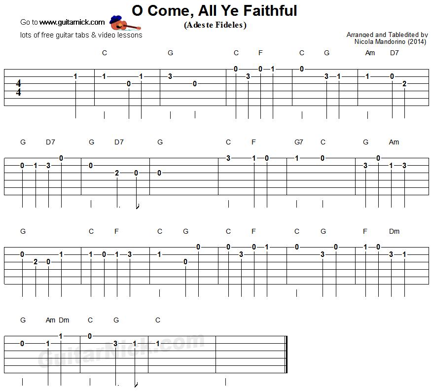 O Come All Ye Faithful Easy Guitar Tablature Guitar Diva In