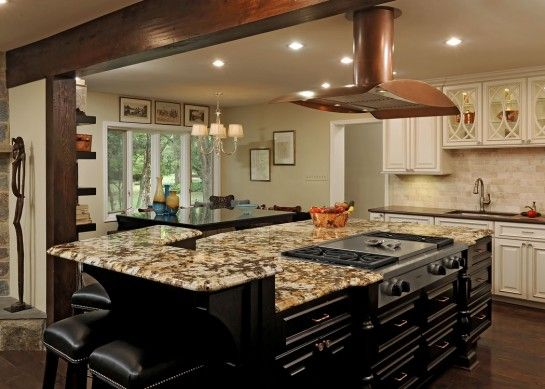 Exceptional Ideas Spellbinding Kitchen Island Designs With Stove Top Using 5 Burner Gas  Cooktop With Griddle And Raised Granite Breakfast Bar Alongside Brushed  Nickel ...
