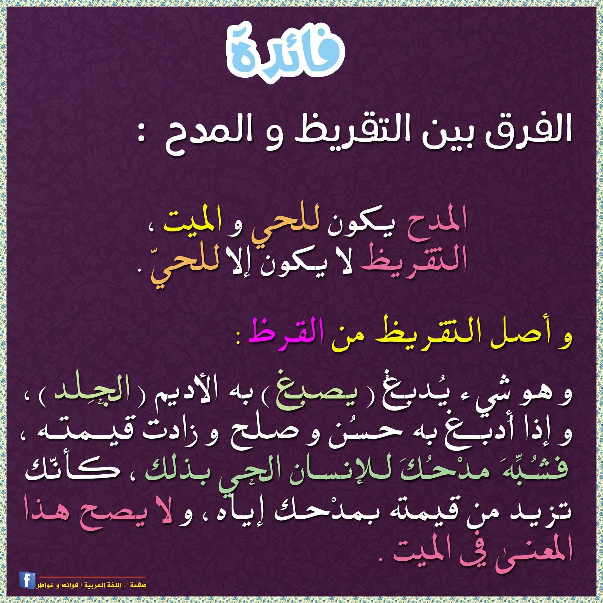 التقريظ Learning Arabic Arabic Language Arabic Books