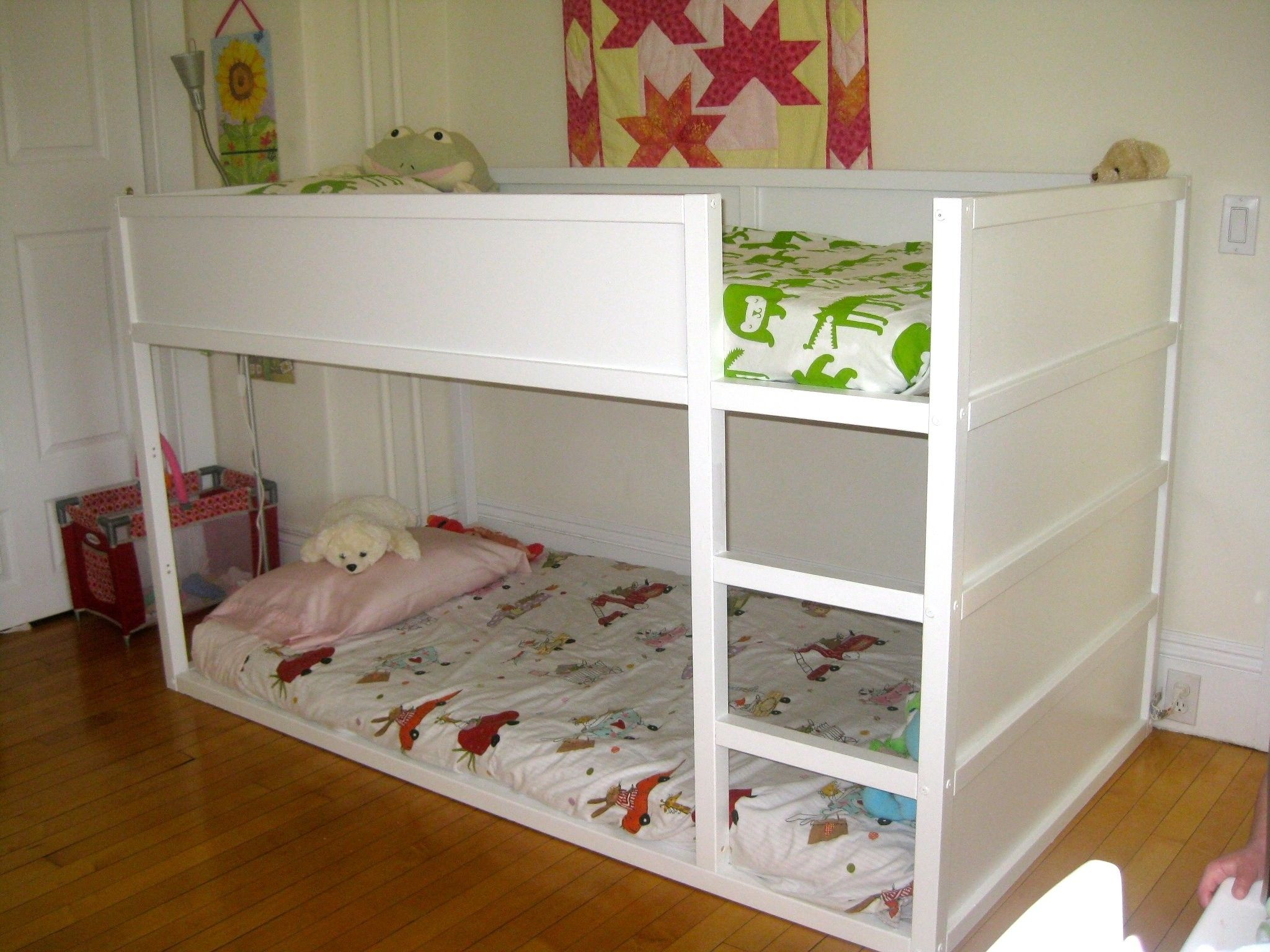 Modern White Finish Wooden Ikea Bunk Bed With Stairs And