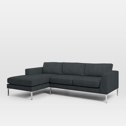 Marco 2 Piece Chaise Sectional Mid Century Metals And Woods