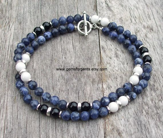 Mens Beaded Necklace Blue Sodalite White Jade and Black Onyx Mens