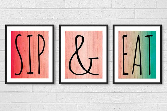 Dining Room Art - Kitchen Prints Wall Art - Modern Set of 3 Sip Wine