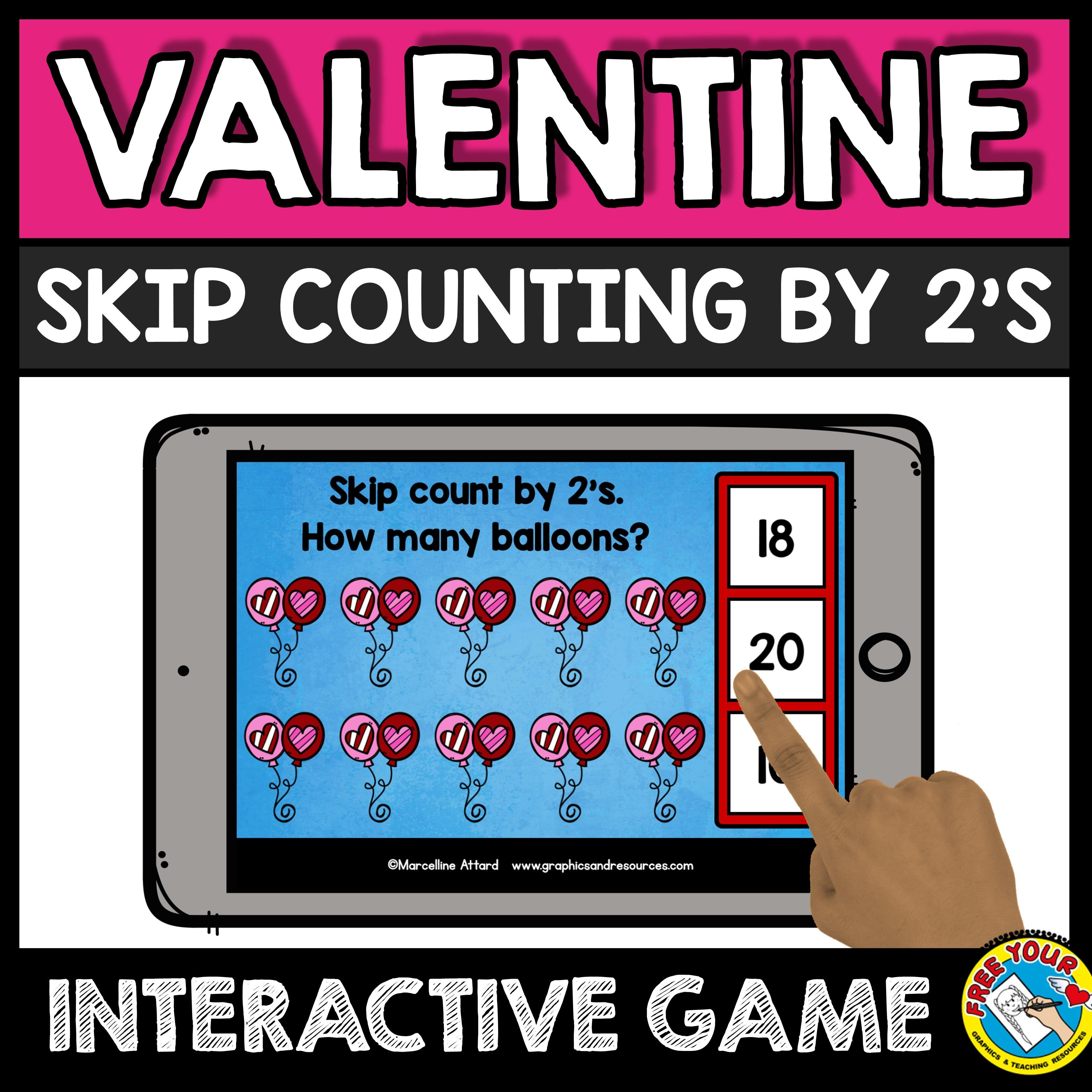 Valentine S Day Skip Counting By 2 S Task Cards Balloons