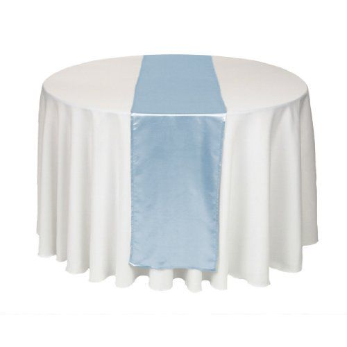 LinenTablecloth 14 x 108-Inch Satin Table Runner Baby Blue LinenTablecloth http://www.amazon.com/dp/B008TKUPD0/ref=cm_sw_r_pi_dp_yaZuwb0NY1WWF