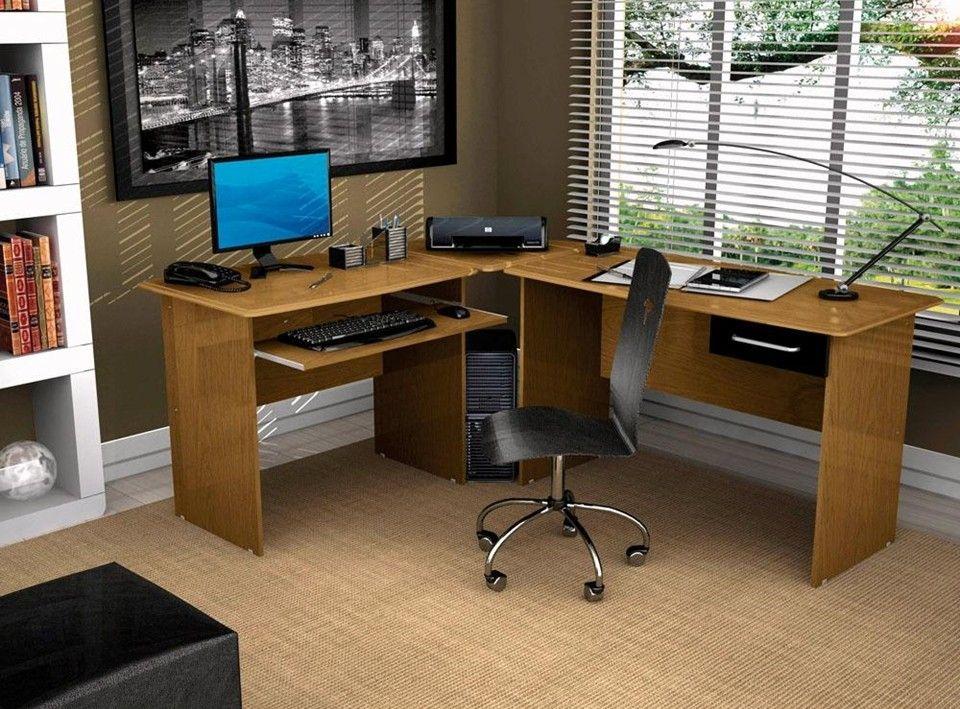 Mesa de madeira em l para escritórios com balcão/bancada grande