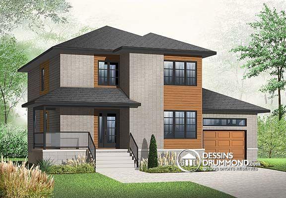 Plan de maison, modèle contemporain 3875 de Dessins Drummond My - plan de maison a etage moderne