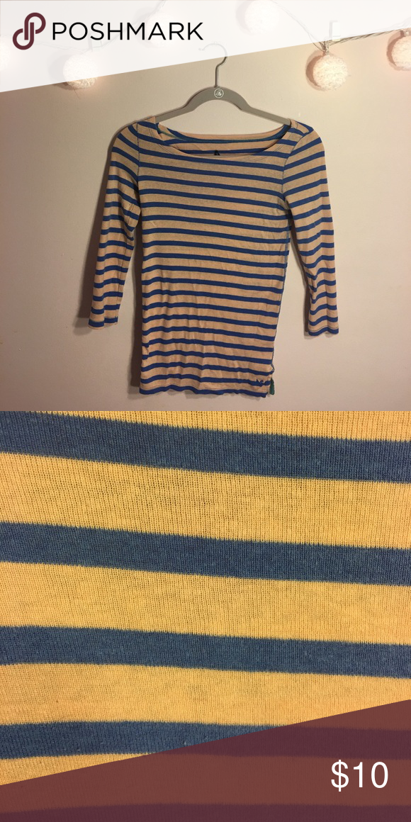 American Eagle Striped Shirt Peach and blue striped shirt from American Eagle. Size small and in great condition. American Eagle Outfitters Tops Tees - Long Sleeve