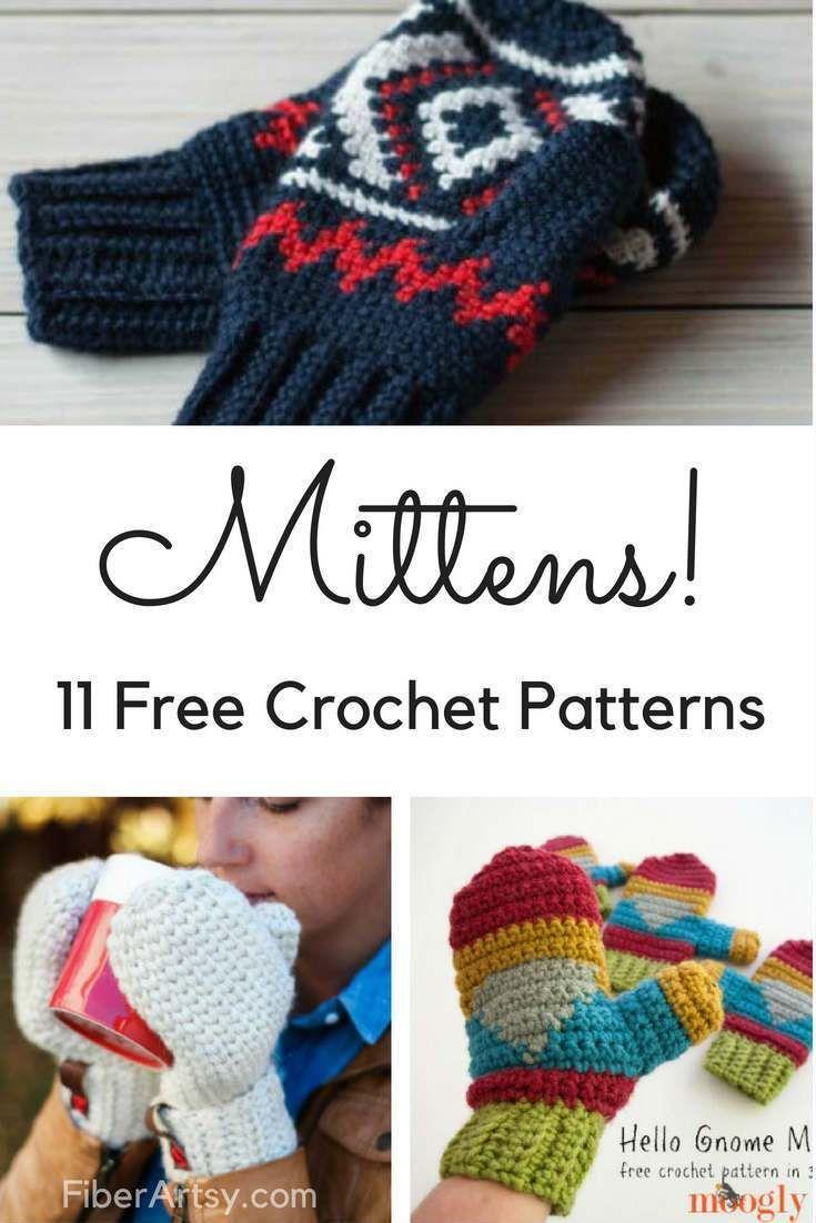 11 Free Patterns for Crochet Mittens | Crochet Gloves | Pinterest ...