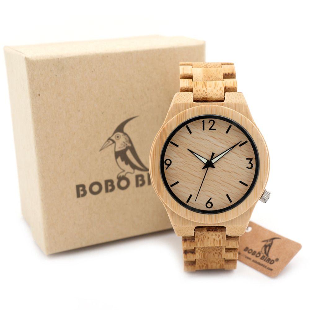5f6b3e81821 Barato BOBO D27 PÁSSARO De Madeira de Bambu Cheio Relógio para Homens Top  Marca luxo Relógios de Pulso de Quartzo Banda Luminous Agulha De Madeira na  Caixa ...