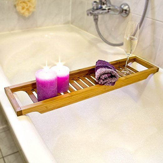 Delicieux Relaxdays Bamboo Bathtub Caddy, Wooden Bathroom Rack, 4 X 64 X 15 Cm, Over  The Tub Storage Tray, With Rails, Natural Brown: Amazon.co.uk: Kitchen U0026  Home