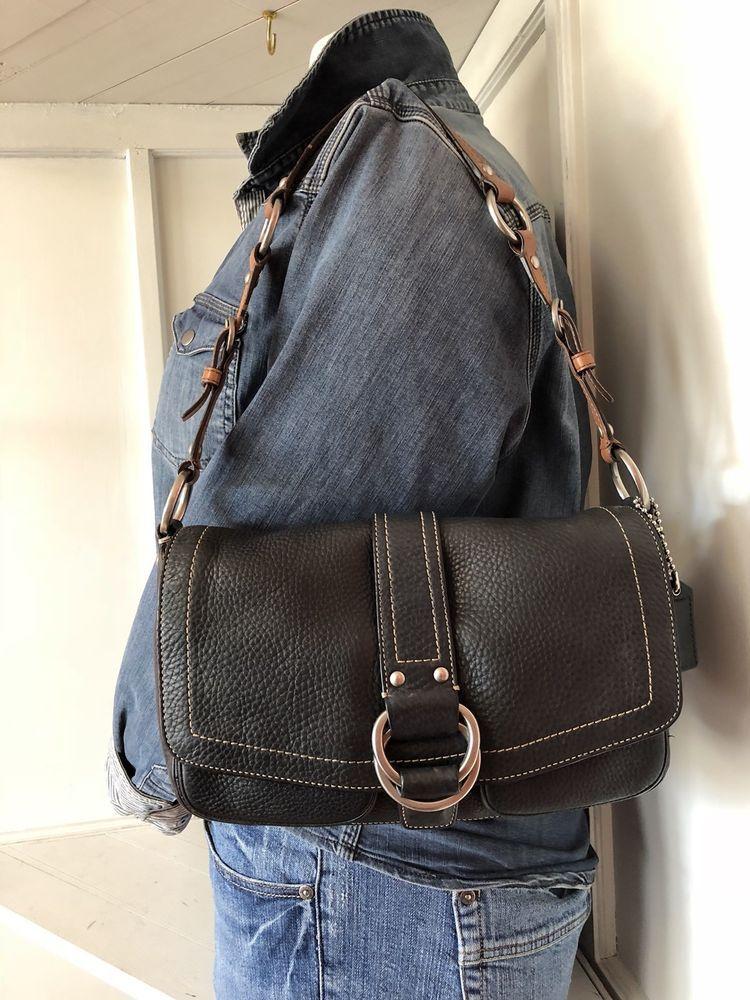 Coach chelsea black wbrown strap leather shoulder purse