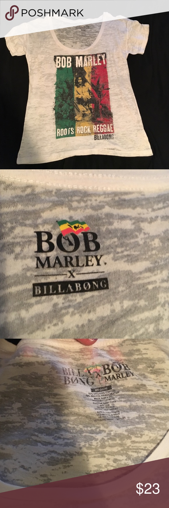 LIMITED EDITION BOB MARLEY BILLABONG T-SHIRT! Brand: Billabong Purchased at Tilly's. I wore this ONCE to an event for Tilly's when I worked at Tilly's! It's lightweight, made of organic cotton, and did I mention LIMITED EDITION! Billabong Tops Tees - Short Sleeve
