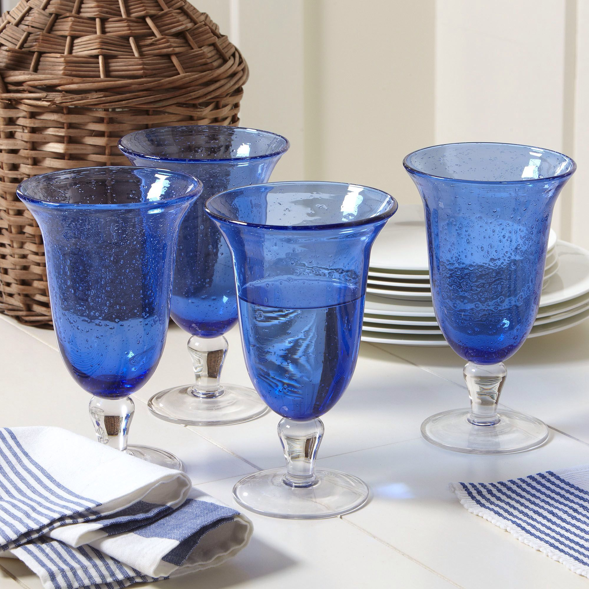 Cecelia Footed Glass in Cobalt (Set of 4)