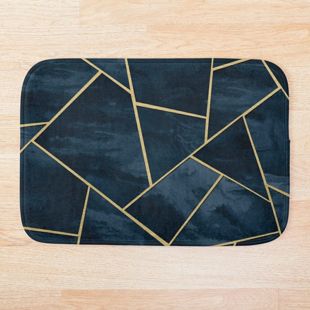 Dark Midnight Navy Blue Gold Geometric Glam 1 Geo Decor Art Bath Mat By Anitabellajantz In 2020 Gold Geometric Navy Blue Art Blue Gold