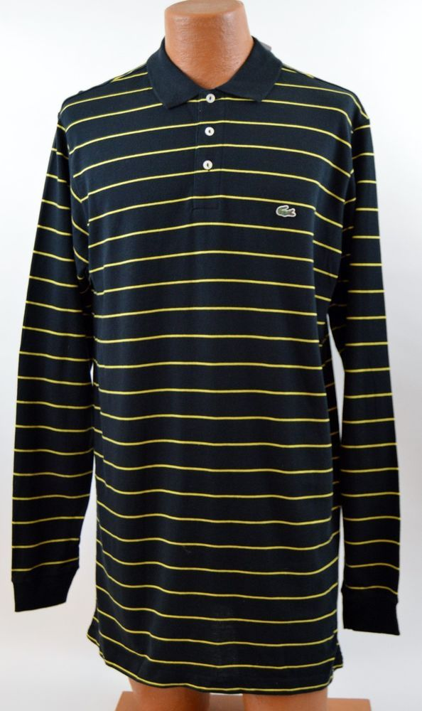 029112f2c4 Lacoste Mens 7 Xl Black Yellow Striped Long Sleeve Polo NWT #Lacoste ...