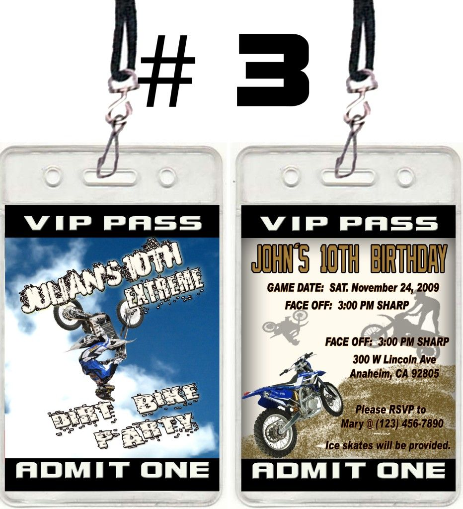 Dirt Bike ATV VIP Pass Birthday Party Ticket Invitations Favor U ...
