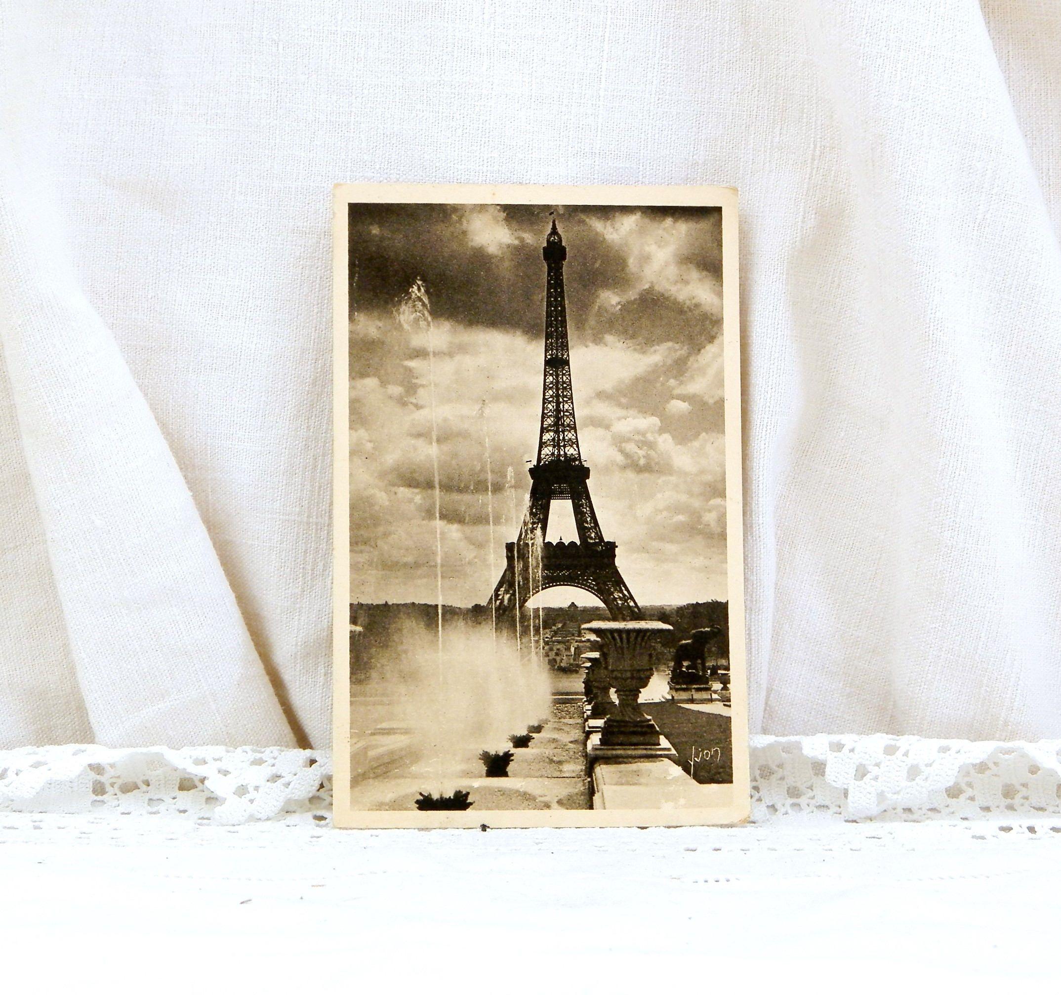 Vintage French Sepia Postcard Eiffel Tower Decor Parisian Shabby Provencal Art Deco Vacation Europe France