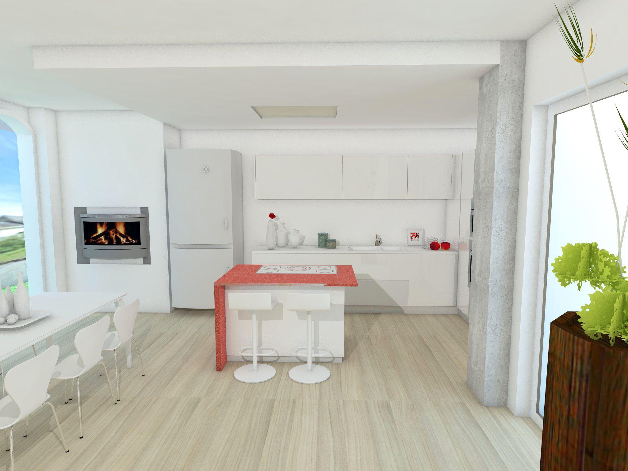 Cucina bianca con un tocco rosso cappa a soffitto - Cucina incassata ...