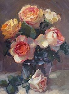 Roses in Glass by Carol Smith Myer in the FASO Daily Art Show http://dailyartshow.faso.com/20160226/1997439
