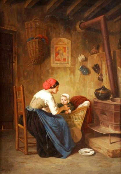 Paul Seignac (1826 – 1904, French)  Mother And Child In A Cottage Interior